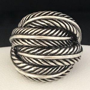 Designer Ring Antique Silver Tone Feather Design4N